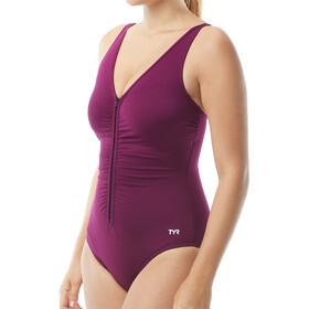 TYR Solids V-Neck Zip Controlfit Swimsuit Women black